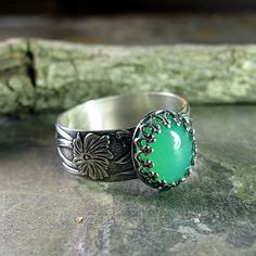 Renaissance Garden - flower band and filigree set chrysoprase ring.  Other stones available:  amethyst, onyx, citrine, amazonite, rose quartz ...from Lavender Cottage Jewelry