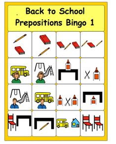 Free! Back to School Preposition Bingo....thanks to Chapel Hill Snippets