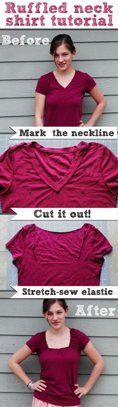 DIY ruffled neck shirt tutorial
