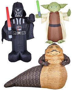 Stars Wars Inflatable Darth Vader Yoda Jabba The Hutt Blow Up Decorations Bundle Star Wars Halloween, Jabba The Hutt, Mind Tricks, Kids Party Supplies, Big Star, Bowser, Darth Vader, The Incredibles, Stars