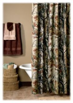 Bass Pro Shops® Camouflage Shower Curtain - Realtree AP™ | Bass Pro Shops.... Mason wants a Camo Bathroom....-underpinning with a few people in mind