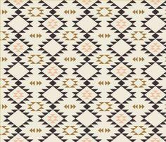 Tissu doré Navajo de Spoonflower conçu par Kimsa - imprimé sur une variété de tissus de coton - 1 yard