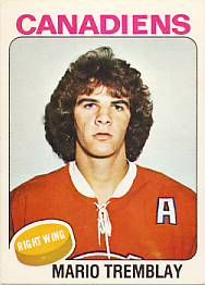 Mario Tremblay - Montreal Canadiens. 1975-76 O-Pee-Chee rookie card. Picture is actually Gord McTavish.