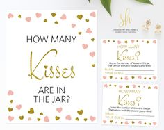 Get the party started with fun 'How many kisses' game! This game is the perfect ice breaker for any bridal shower or bachelorette party. #printable #bridalshower #bridalshowergames #bridalgames #bridalshowerstationery #bridalstationery #bachelorette #bachelorettegames #bachelorettepartygames #SHdesigns