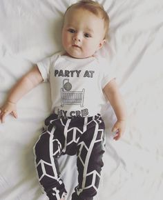 "Our ""Party at my Crib"" onesie makes an awesome baby shower gift! Shop link in bio #wearallthefayebeline  #Repost @thelittlestligons  Party at my crib. 2AM. Be there or be square- all the cool kids are coming!"