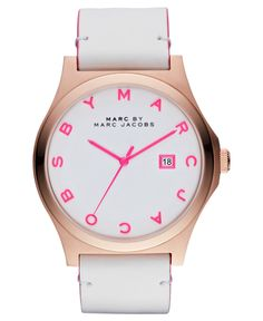 Marc by Marc Jacobs Watch, Women's White Leather Strap 43mm MBM1248 - Women's Watches - Jewelry & Watches - Macy's