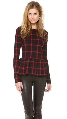 4e619de877b Torn by Ronny Kobo Natalie Plaid Peplum Top Sweater Weather, Petite Women,  Classic Clothes