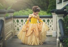 Your Princess will be ready to dance in this Custom Belle inspired ballgown. This is for a SIZE 3t but can be ordered in 24 months and up. Size 8 and up are an additional fee.  Your dress top is made of a super soft yellow stretch velvet, which is fully lined in the front. Your dress will be made like all of my dresses in a leotard style with a built in stretch lycra panty so they just step into the dress and go, no buttons , or zippers or ties to mess with. Because it is stretch fabric it…