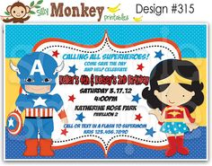 Captain America and Wonder Woman inspired birthday invitation or thank you card for double party