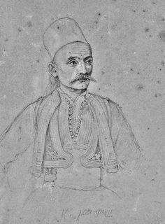 Κωνσταντίνος Μπότσαρης Μολύβι σε χαρτί Σουλιώτης αγωνιστής, αδελφός του Μάρκου Μπότσαρη και πατέρας του Κίτσου Μπότσαρη