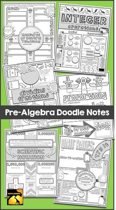 Interactive Doodle Notes for Pre-Algebra - for focus, better retention, relaxation, and brain boosts!