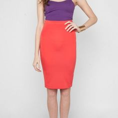"Coral Pencil Skirt- NWOT Coral pencil skirt - never worn!! 25"" long. Skirts Pencil"