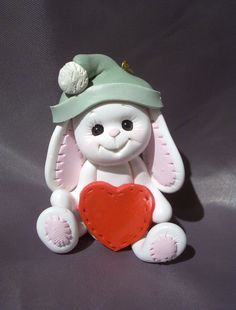 bunny rabbit personalized christmas ornament polymer by clayqts