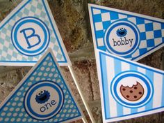 Cookie Monster Birthday Party Centerpiece Flag Decorations