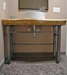 wood slab bathroom counter - Google Search