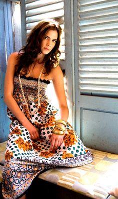 A beautiful khanga (kanga) summer dress made by Lalesso.