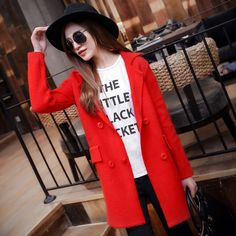 2015 spring women lapel double-breasted knit jacket and long sections USD$26.50