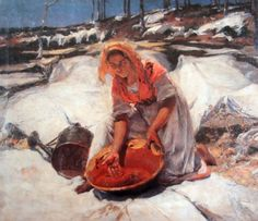 Dying the clothes - Jose Malhoa Louis Aston Knight, Impressionist Paintings, Impressionism, Oil Paintings, Types Of Drawing, Portuguese Culture, Portugal, Art Database, Oil Painting Reproductions