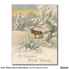 Deer Winter Snow Cabin Mountain Evergreen Postcard