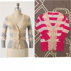 """Anthropologie Pink Field Game Cardigan Sz L EUC!  Charlotte Tarantola from Anthropologie    Pink & beige """"Field Game Cardigan""""   A delicate lace placket prettifies this rugby-striped cardigan   Size L   Excellent used condition!    100% Cotton   Bust: 19"""" across the front, lying flat. Has stretch!    Length: 25"""" from shoulder to hem   ✳️ Bundle to Save 20%! ❌ No Trades, Holds, PP, Modeling  100% Authentic!  ⭐️ Suggested User / 1200+ Sales / Fast Shipper / Best in Gifts Party Host! ⭐️…"""