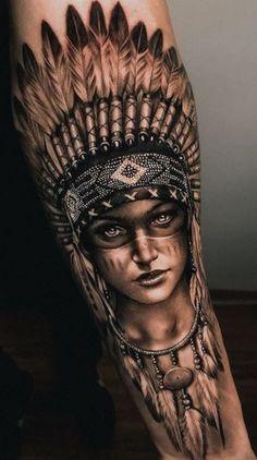 Indian Women Tattoo, Native Indian Tattoos, Indian Girl Tattoos, Indian Tattoo Design, Native American Tattoos, Native American Headdress, Aztec Tattoo Designs, Aztec Tattoos Sleeve, Wolf Tattoo Sleeve