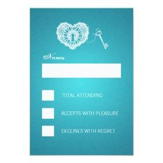 Discount DealsElegant Wedding RSVP Key To My Heart Turquoise InvitationsThis site is will advise you where to buy