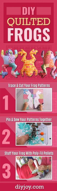 DIY Quilted Frogs - Cute Sewing Projects and Quilting Tutorials Make Creative DI. - DIY Quilted Frogs - Cute Sewing Projects and Quilting Tutorials Make Creative DI. DIY Quilted Frogs - Cute Sewing Projects and Quilting Tutorials Ma. Quilting Tutorials, Sewing Tutorials, Diy Quilting, Quilting Projects, Bag Tutorials, Quilting Patterns, Sewing Toys, Sewing Crafts, Sewing Art