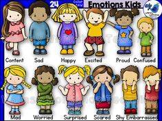 This set features kids with 12 different emotions, as shown on the cover. Includes black and white versions. $ Whimsy Workshop Teaching