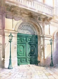 Grzegorz Wróbel, Emerald Door 72x52cm
