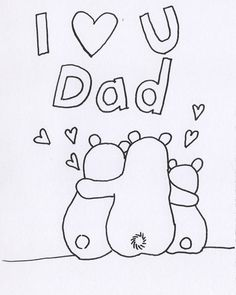 Free Printable Fathers Day Coloring Page with Bear Family. Write names under their big bottoms to make it a personalised card. Can draw more little bears for u for free.