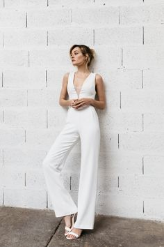 """The By Romance """"Charly"""" jumpsuit features a straight crepe trouser and deep V neckline with a tulle panel. Back closure with invisible zip. Pantsuit Wedding Dress, Wedding Jumpsuit, Cheap Wedding Dress, Rehearsal Dinner Outfits, Wedding Rehearsal Outfit, Alternative Wedding Dresses, Outfit Trends, Jumpsuit Dress, Wedding Stuff"""
