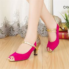 Brand Wholesale Retail Rose Red Glitter Patchwork Fashion Salsa Shoes High Heel Girls Women's Jazz Latin Ballroom Dance Shoes