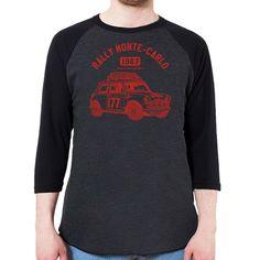 Morris Mini Cooper 1275S Men's 3/4 Sleeve, Baseball Shirt