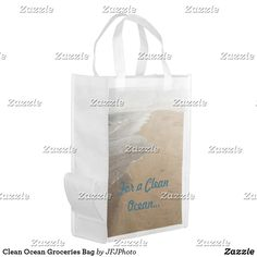 Shop Clean Ocean Groceries Bag created by JFJPhoto. Clean Ocean, Reusable Grocery Bags, Save The Planet, Carry On Bag, Folded Up, Paper Shopping Bag, My Design, Cleaning, Purses