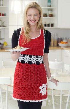 Snowflake Hostess Apron Crochet Pattern from RedHeart Yarn – Grandmother's Pattern Book