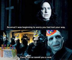"You think we could partake in a rousing game of ""Pin the nose on Voldemort"" later on? :D"