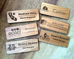 Custom Name Badges, Engraved Name Tag with Logo, Engraved Name Badge, Magnetic Name Tag, Personalized Name Tags, Wood Name Tags    This name badge