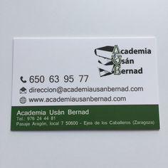 Tarjetas de visita, 1 cara plastificado mate - Academia Usán Bernad