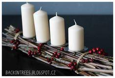 Back on Trees Rustic Christmas, Christmas Diy, Merry Christmas, Christmas Decorations, Pillar Candles, Advent, Home Decor, Trees, Blog