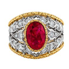 Buccellati Spectacular Burma Ruby Diamond Gold Ring | From a unique collection of vintage dome rings at https://www.1stdibs.com/jewelry/rings/dome-rings/