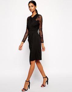 ASOS Lace Insert Drape Midi Dress $64.24