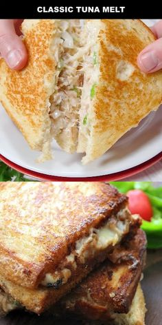 This easy Classic Tuna Melt is absolutely delicious. I love this traditional, homemade classic tuna melt. It's filled with cheese and served hot. So yummy! I think this recipe is best because it comes from my Nan. It's amazing how such a simple sandwich c Gourmet Sandwiches, Best Sandwich Recipes, Healthy Sandwiches, Panini Sandwiches, Good Sandwiches, American Sandwich Recipes, Grilled Sandwich Ideas, Bread Sandwich Recipe Indian, Sandwiches For Dinner