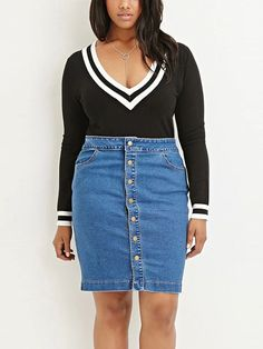 Plus Denim Pencil Skirt: snap button details on the front, side hand pockets, knee length.