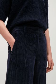 COS image 4 of Corduroy wide-leg trousers in Navy