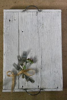 RECLAIMED WOOD TRAY, £60, Decorator's Notebook