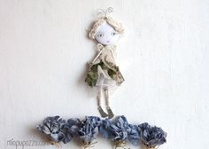 Little Flower Fairy Black & White Art Doll Brooch by miopupazzo