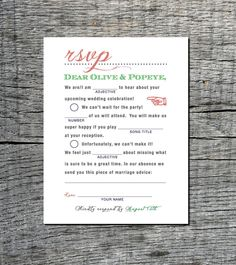 Mad Libs Inspired Vintage Wedding RSVP Postcard - Double Sided Respond Card (front and back) - Old Fashioned Style - Printable DIY. $20.00, via Etsy.