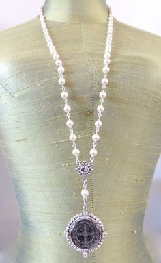 Handcrafted, Artisan Jewelry Industrious Pearl Beads With Rhinestone Cross Baptism Christening Communion Gift Necklace Christening