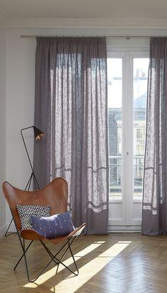Einzel Vorhang aus Leinen mit modernem Design