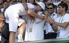 How outspoken Ivan Lendl guided Andy Murray to Wimbledon glory - Telegraph: also a glimpse of the greatest butt in tennis today. Tennis Equipment, Nfl New York Giants, Champion Sports, My Friend, Friends, Andy Murray, World Of Sports, Wimbledon, Tennis Players